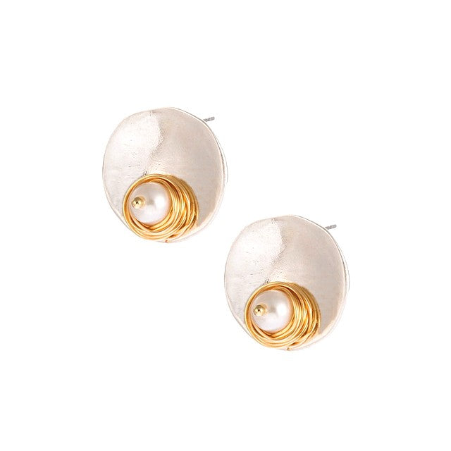 Pearl on Disc Earrings