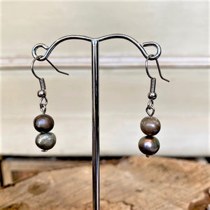Grey Freshwater Pearl Drop Earrings