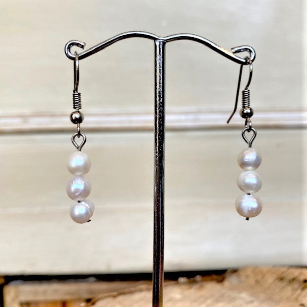 Freshwater Pearl Trio Drop Earrings