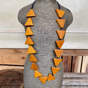 Adjustable Wood Triangle Necklace Orange