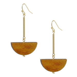 Crescent Drop Wood Earrings
