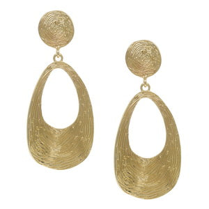 Etched Cutout Drop Gold Earrings
