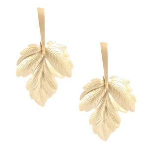 Etched Matt Leaf Drop Earrings