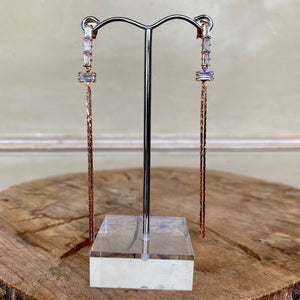 Rose Gold and Crystal Drop Earrings