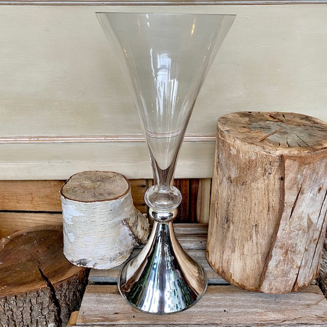 Glass Trumpet Vase with Chrome Base