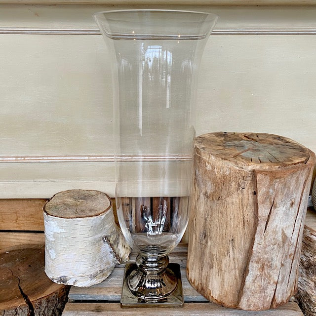 Glass Hurricane Vase with Chrome Base