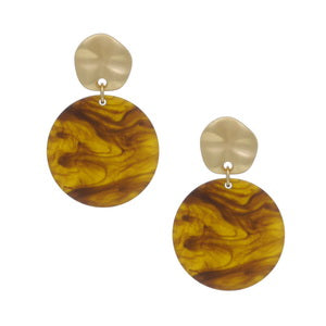 Tort Resin Disc Drop Earrings