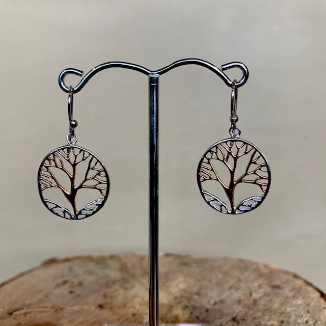 Two Tone Tree of Life Earring