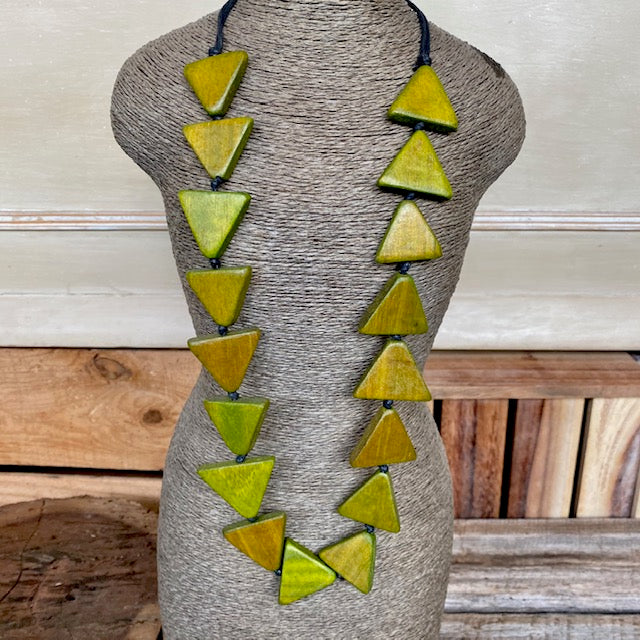 Adjustable Wood Triangle Necklace Green
