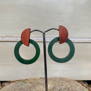 Wood Round Drop Earring