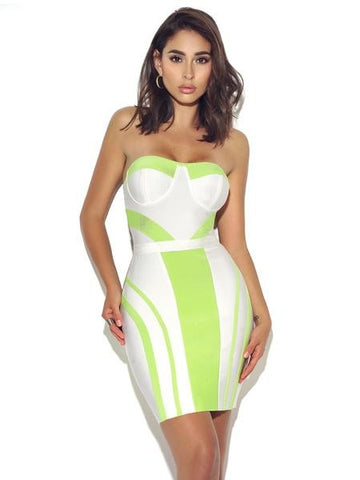 Pure Heart Neon Green & White Strapless Dress