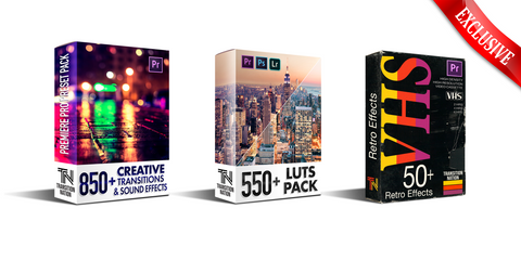 Super Bundle Pack 1650+ - Transitions, LUTs, VHS FX & Sound FX