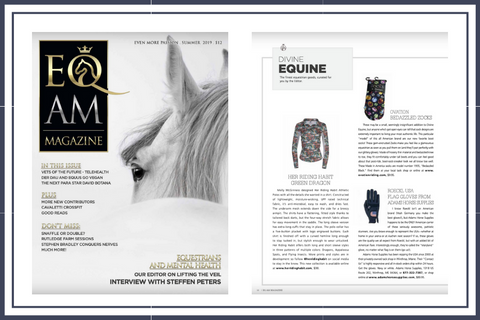 Eq Am Magazine with the Divine Equine features for summer 2019 her riding habit dragon shirt