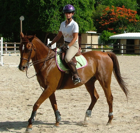 Juliana Chapman riding her horse Sammy wearing Kerrits Ladies Performance Riding Tights.