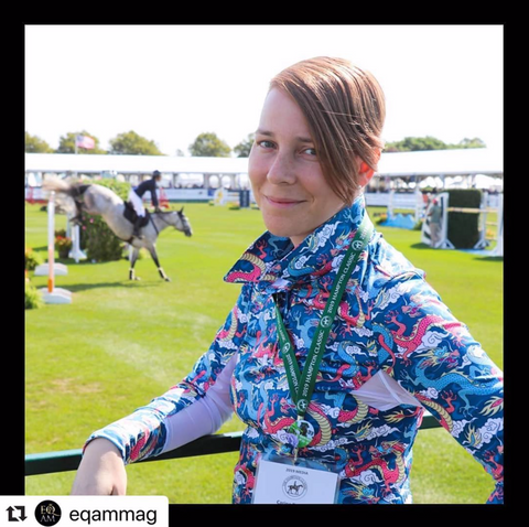 Carina Roselli editor of Eq Am magazine wearing the blue dragon sun shirt polo