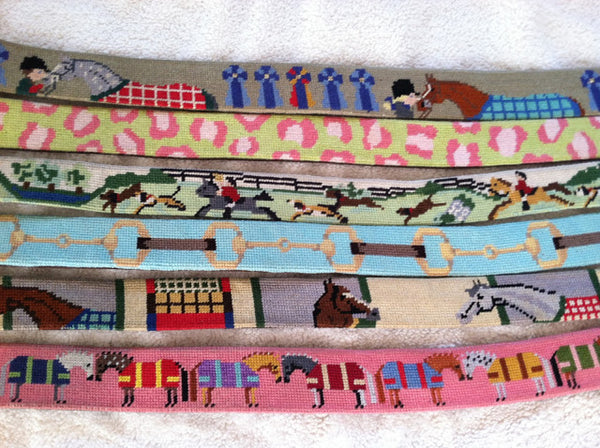 Ann Turnicky, blogger of Horse Country Chic about the lifestyle of the Virginia Horse Country, likes needlepoint belts.