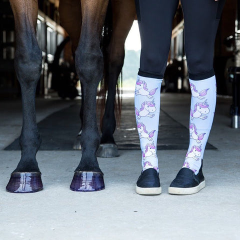 Andrea Wise and Chloe wear dreamers and schemers socks and pony glam hoof polish.