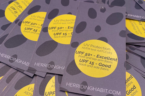 Her Riding Habit hangtags UPF UV Protection