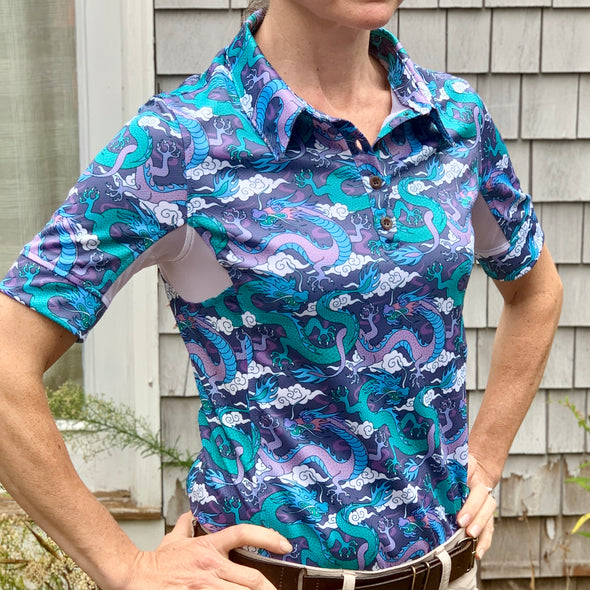 Equestrian short sleeve sun shirt polo with UPF or SPF protection and purple and teal dragon design