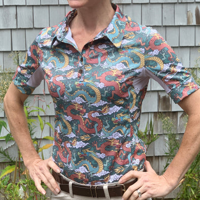 Equestrian short sleeve sun shirt polo with UPF or SPF protection and green and rust dragon design