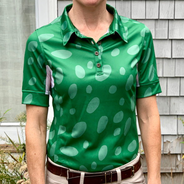 Equestrian short sleeve sun shirt polo with UPF or SPF protection and green appaloosa spots design