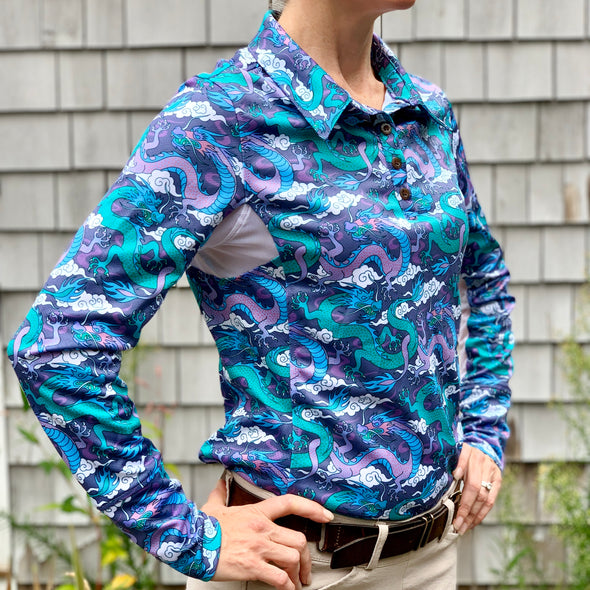 Equestrian long sleeve sun shirt polo with UPF protection and purple and teal dragon design