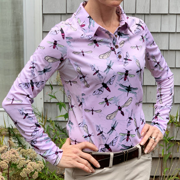 Equestrian long sleeve sun shirt polo with UPF or SPF protection and pink flying insects design