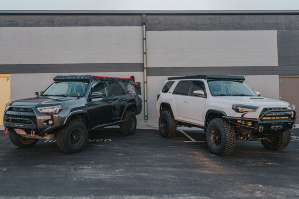 Side by side of the upTOP Overland Alpha and Bravo Series Roof rack for a 5th gen 4Runner.