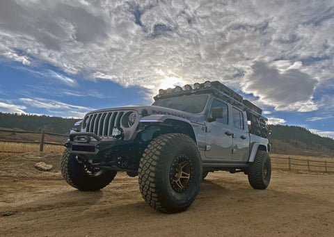 Jeep Gladiator with roof rack and bed rack from upTOP Overland