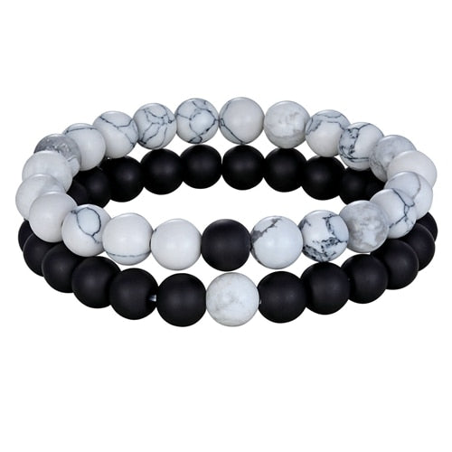2pcs/set Natural Stone Yoga Beaded Bracelet