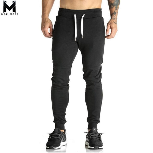 Full Crand Sportswear Pants Casual Elastic Cotton Mens Fitness Workout Pants
