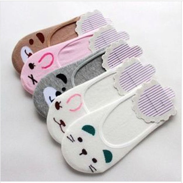 Summer Cartoon Cotton Thin Women Boat Socks - Workout Vital