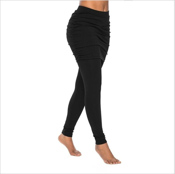 High waist leggings with pleated skirt