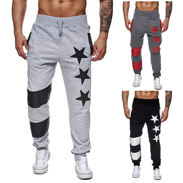 Sweatpants Male Casual Striped Patchwork Joggers Pants
