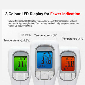 3 Color Alert Infrared Forehead Thermometer Body for Baby Body Temperature Measure or Child & Adults