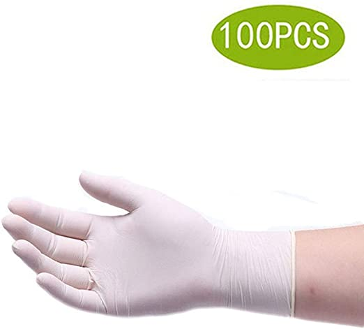 100PCS Disposable Powdered Water-resistant Thick Rubber Surgical Gloves