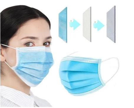 Disposable Facemask 3-Ply 1 Box 50pcs with Ear Loop