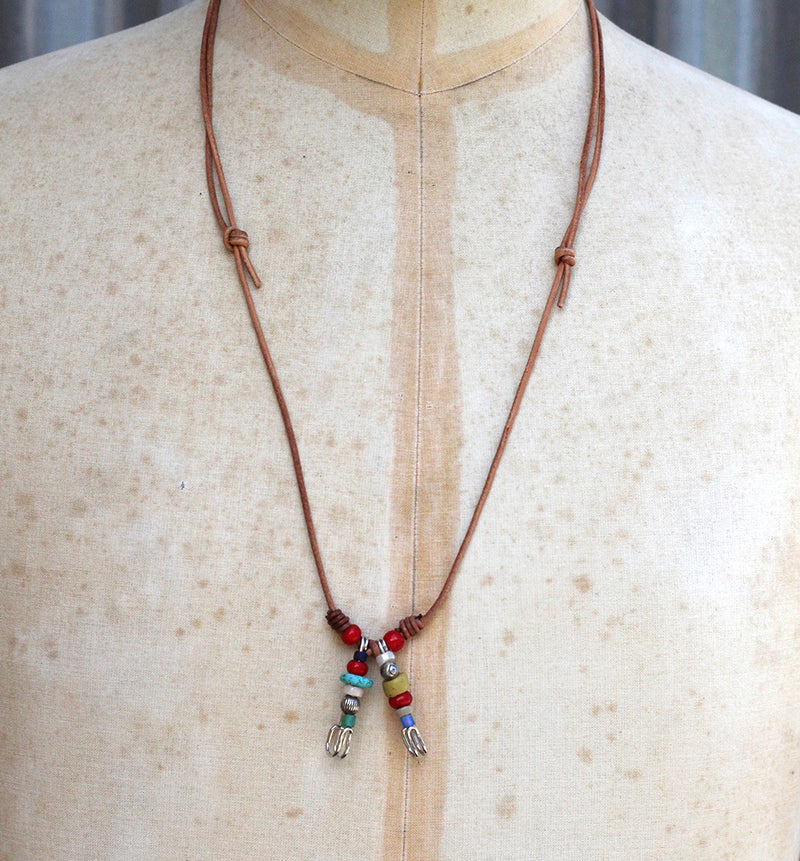Beaded Double Pin Necklace