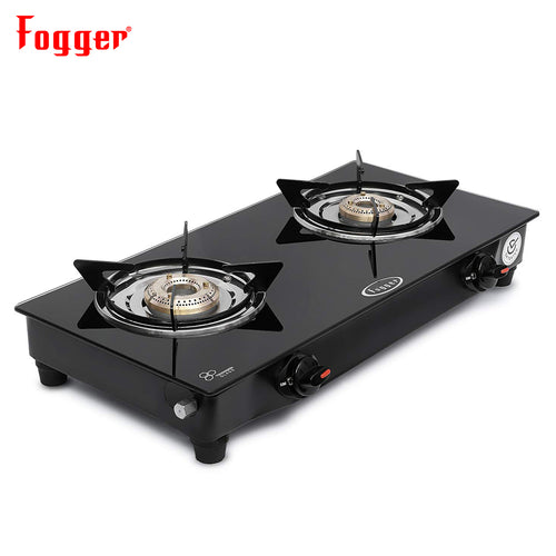 Fogger Nano Glass Top Gas Stove 2 Brass Burner (Manual)