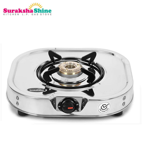 Suraksha Shine Glen Stainless Steel 1 Burner Gas Stove, ISI Certified