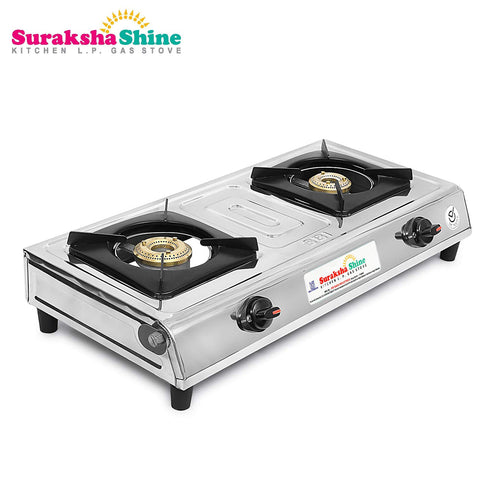 Suraksha Shine Mini Gold Stainless steel Gas Stove 2 Burner
