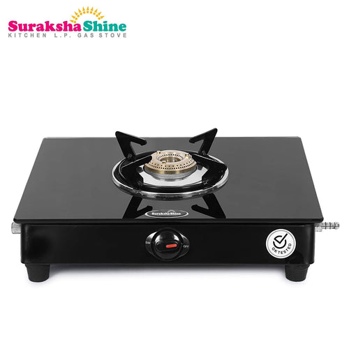 Suraksha Shine Glass Top 1 Brass Burner Gas Stove, ISI Certified