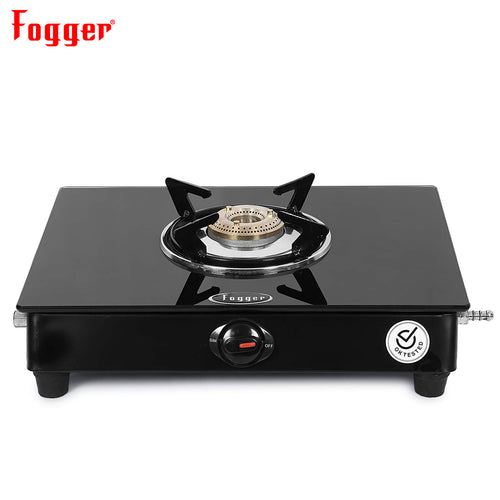 Fogger Glass Top 1 Brass Burner Gas Stove, ISI Certified