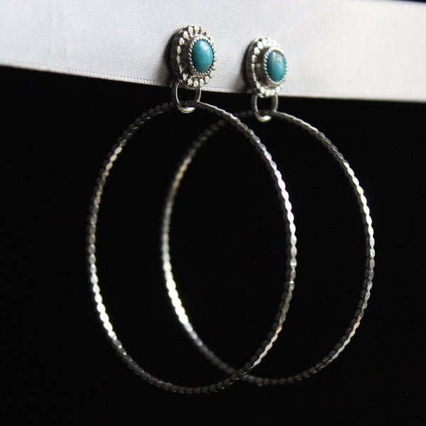 kingman turquoise stud hoop earrings