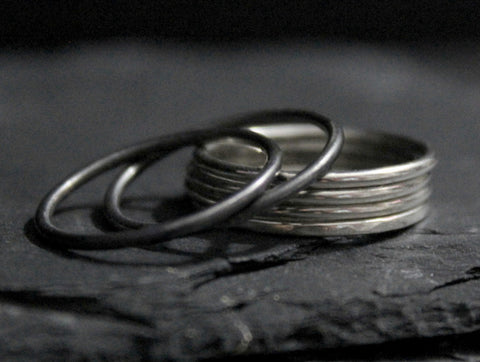 16G simple smooth sterling silver stacking ring