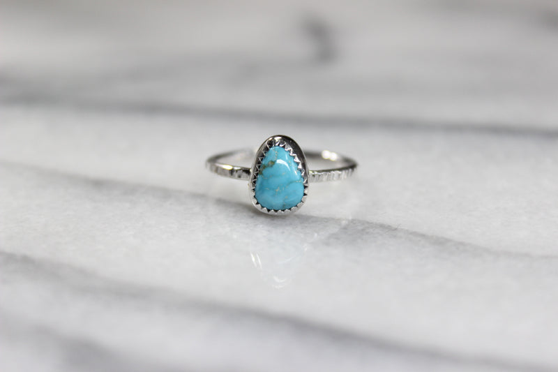 size 6.75 - kingman turquoise skinny stacking ring