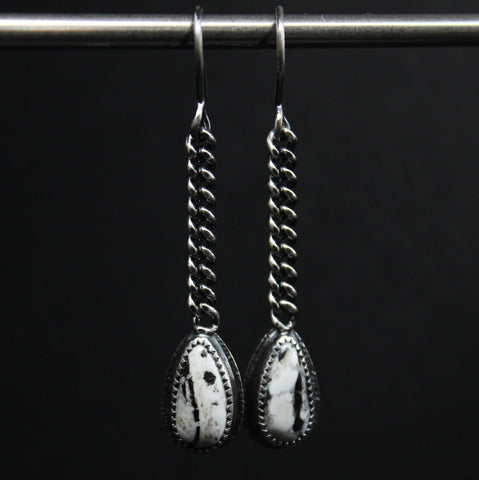 WHITE BUFFALO DANGLE EARRINGS - STERLING SILVER