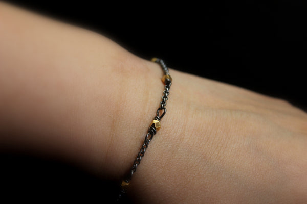 hill tribe 24k gold vermeil faceted bead bracelet