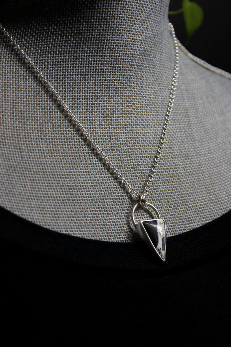 triangular white buffalo ribbon necklace
