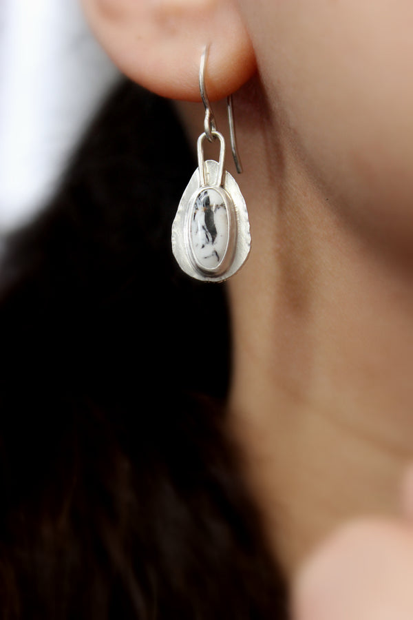 white buffalo teardrop dangle earrings